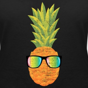 Pineapple With Rainbow Sunglasses | Cool 80s Style T-shirts - T-shirt med v-ringning dam
