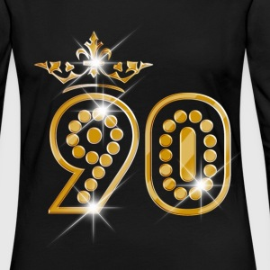 90 - Birthday - Queen - Gold - Burlesque Long Sleeve Shirts - Women's Premium Longsleeve Shirt