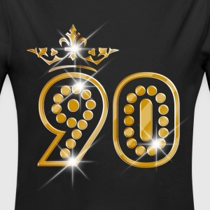 90 - Birthday - Queen - Gold - Burlesque Baby Bodys - Baby Bio-Langarm-Body