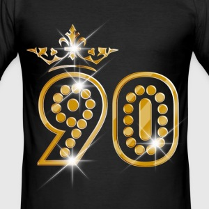 90 - Birthday - Queen - Gold - Burlesque T-Shirts - Männer Slim Fit T-Shirt