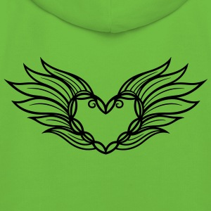 Large heart with wings and feathers, filigree. - Kids' Premium Hoodie
