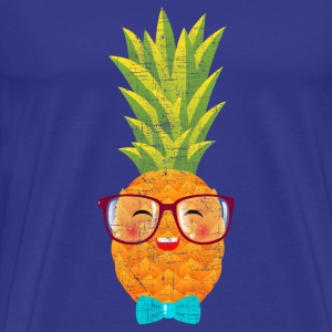 Hipster Geek Pineapple With Glasses & Bow Tie T-Shirts - Men's Premium T-Shirt