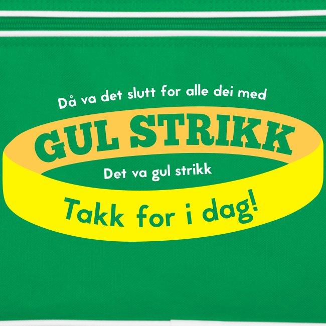 Retro skulderveske med «Slutt på gul strikk»