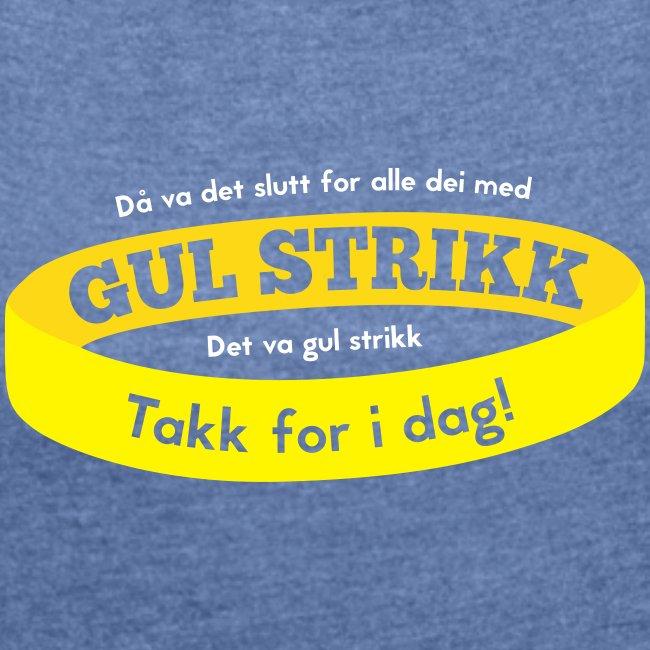 Då va d slutt for alle dei med gul strikk... (dame)