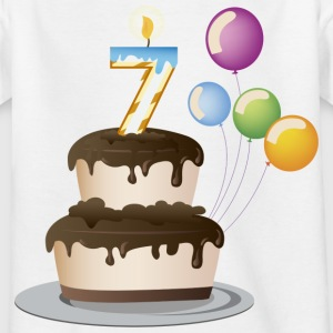 7th Birthday cake and candles - Kids' T-Shirt