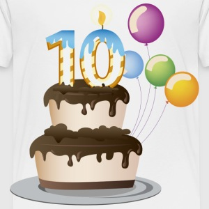 10th  birthday candle cake and balloons - Kids' Premium T-Shirt