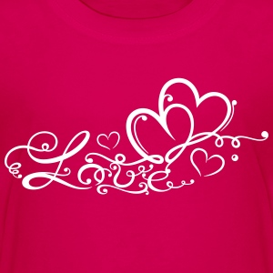 Two hearts in love with lettering - Teenage Premium T-Shirt