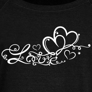 Two hearts in love with lettering - Women's Boat Neck Long Sleeve Top