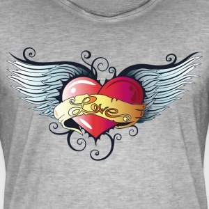 Big heart with wings, Tattoo Style. - Men's Vintage T-Shirt