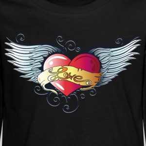 Big heart with wings, Tattoo Style. - Teenagers' Premium Longsleeve Shirt