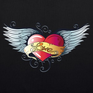 Big heart with wings, Tattoo Style. - EarthPositive Tote Bag