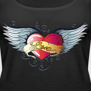 Big heart with wings, Tattoo Style. - Women's Premium Tank Top
