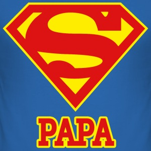 Superman Logo Superpapa Papa - Männer Slim Fit T-Shirt