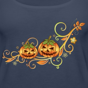 Halloween ornament with leaves and pumpkins. - Women's Premium Tank Top