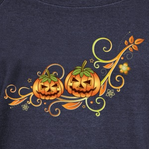Halloween ornament with leaves and pumpkins. - Women's Boat Neck Long Sleeve Top