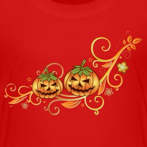 Halloween ornament with leaves and pumpkins. - Teenage Premium T-Shirt