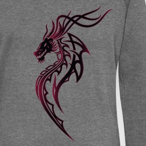 Fantasy dragon in Tattoo and Tribal style - Women's Boat Neck Long Sleeve Top
