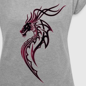 Fantasy dragon in Tattoo and Tribal style - Women's T-shirt with rolled up sleeves