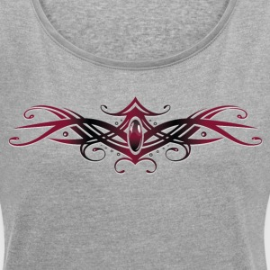 Filigree Tribal with gemstone, red and black - Women's T-shirt with rolled up sleeves