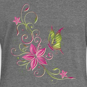 Pink and green flowers with butterfly - Women's Boat Neck Long Sleeve Top