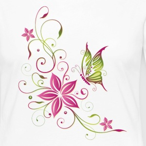 Pink and green flowers with butterfly - Women's Premium Longsleeve Shirt
