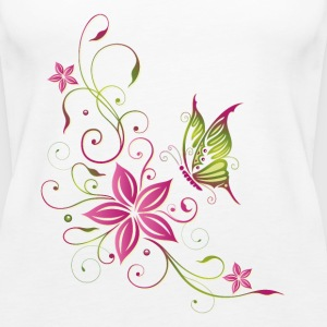 Pink and green flowers with butterfly - Women's Premium Tank Top