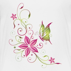 Pink and green flowers with butterfly - Kids' Premium T-Shirt