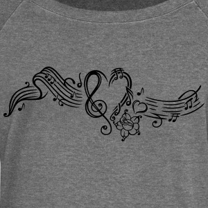 Music sheet with music notes and clef - Women's Boat Neck Long Sleeve Top
