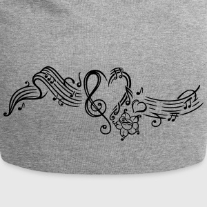 Music sheet with music notes and clef - Jersey Beanie