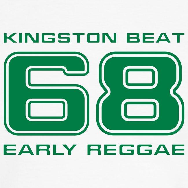 gelb-grünes Reggae-Shirt Kingstonbeat 68 mit Kontraststreifen 1farbiger Druck
