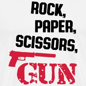 rock, paper, scissors, gun T-shirts - Herre premium T-shirt