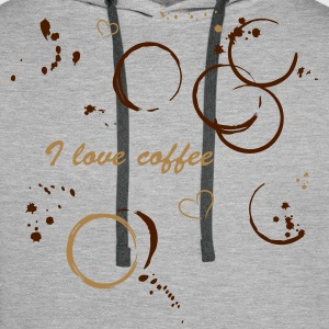 I love coffee. Coffee stains and hearts. - Men's Premium Hoodie