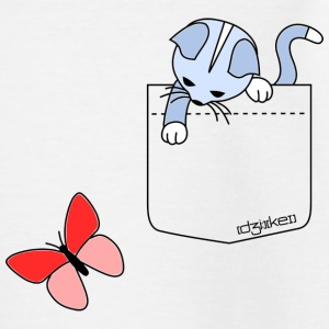 pocket friend – kitten with butterfly - Kinder T-Shirt