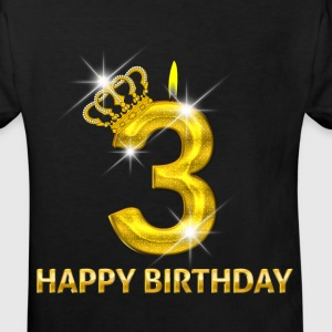 3 - Happy Birthday - Geburtstag - Zahl Gold T-Shirts - Kinder Bio-T-Shirt
