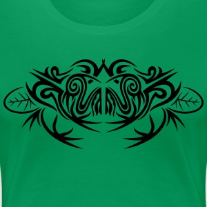 Big frog and leaves, tribal and tattoo design. - Women's Premium T-Shirt