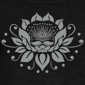 Large lotus flower in tattoo style. - Women's Boat Neck Long Sleeve Top