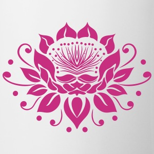 Large lotus flower in tattoo style. - Mug