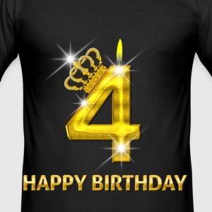 4-happy birthday - birthday - number gold T-Shirts - Men's Slim Fit T-Shirt
