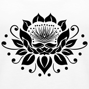 Large lotus flower in tattoo style. - Women's Premium Tank Top