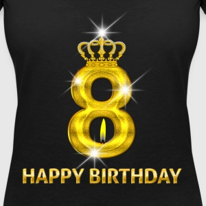 8-happy birthday - birthday - number gold T-Shirts - Women's V-Neck T-Shirt