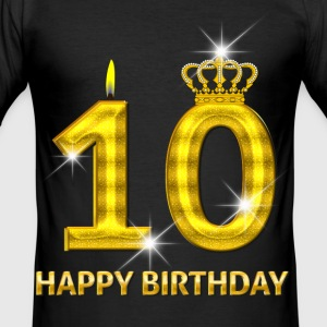 10-happy birthday - birthday - number gold T-Shirts - Men's Slim Fit T-Shirt