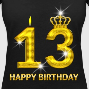 13-happy birthday - birthday - number gold T-Shirts - Women's V-Neck T-Shirt
