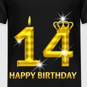 14 - Happy Birthday - Geburtstag - Zahl Gold T-Shirts - Teenager Premium T-Shirt