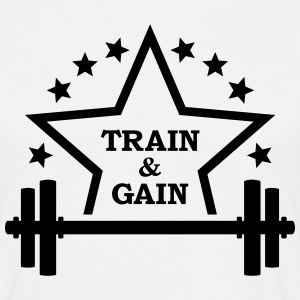 Train + gain  Dumbbell weights Squat workout icon T-Shirts - Men's T-Shirt