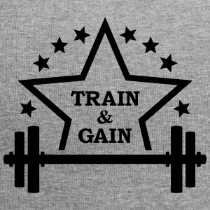 Train + gain  Dumbbell weights Squat workout icon Caps & Hats - Jersey Beanie