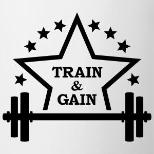 Train + gain  Dumbbell weights Squat workout icon Mugs & Drinkware - Mug