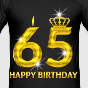 65 - happy birthday - birthday - number gold T-Shirts - Men's Slim Fit T-Shirt