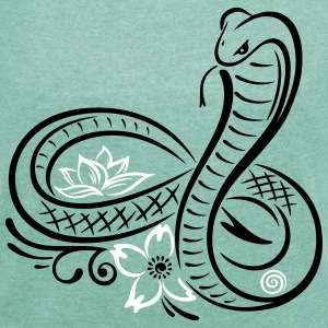 Snake (cobra) with infinity - Women's T-shirt with rolled up sleeves