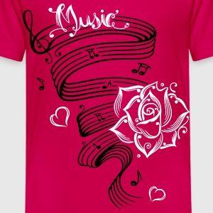 Music notes with music sheet and rose - Kids' Premium T-Shirt