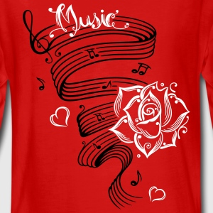 Music notes with music sheet and rose - Teenagers' Premium Longsleeve Shirt